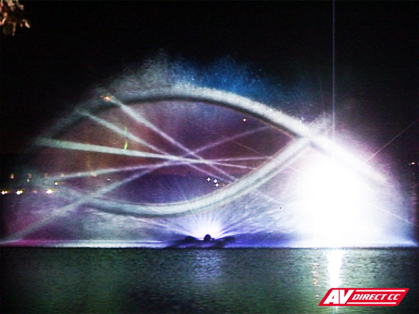 laser show and waterscreen projection