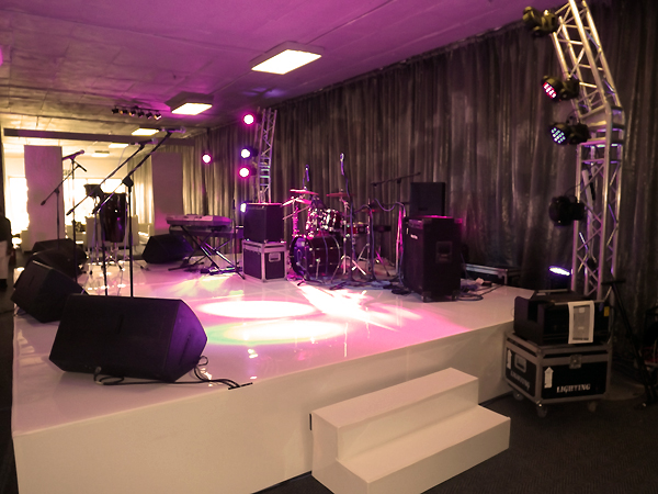 stage sound and lighting setup and urban tree for a wedding royale