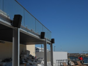 JBL Control 29AV speaker installation - shimmy beach club - waterfront