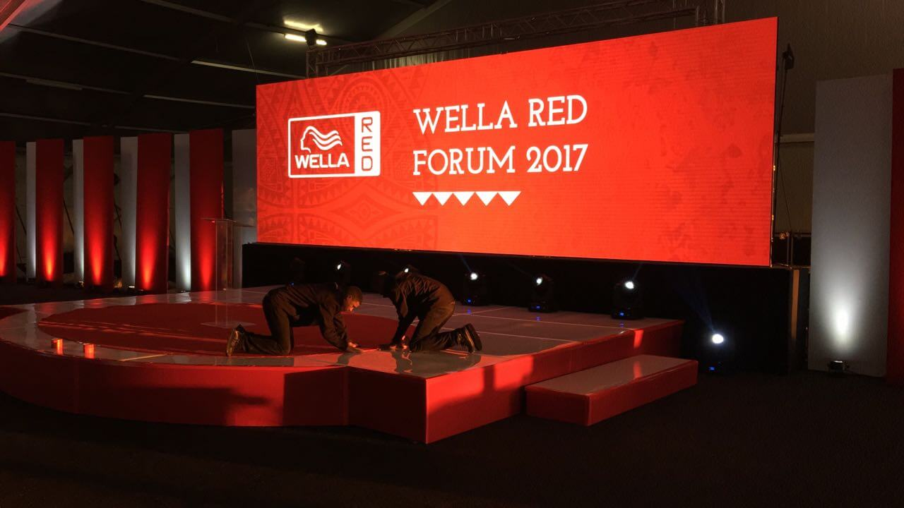 wella red conference with high res led video wall