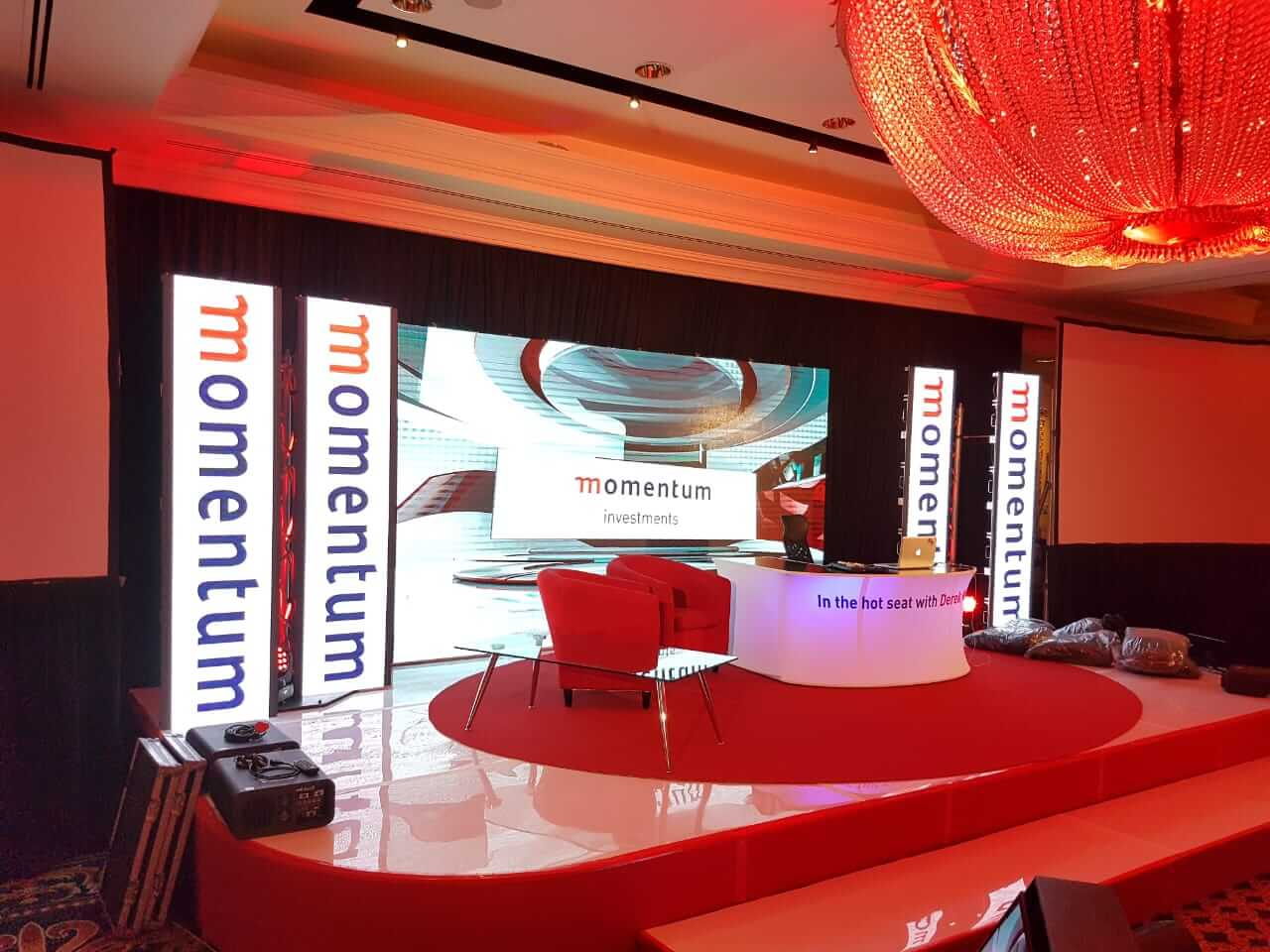 Momentum road show technical conference setup with led video wall
