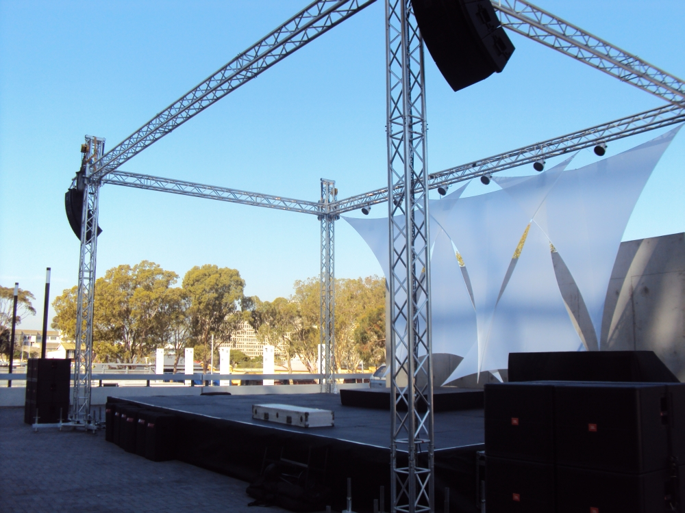 full production outdoor line array sound and staging