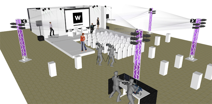woolworths summer launch - technical set design and venue layout