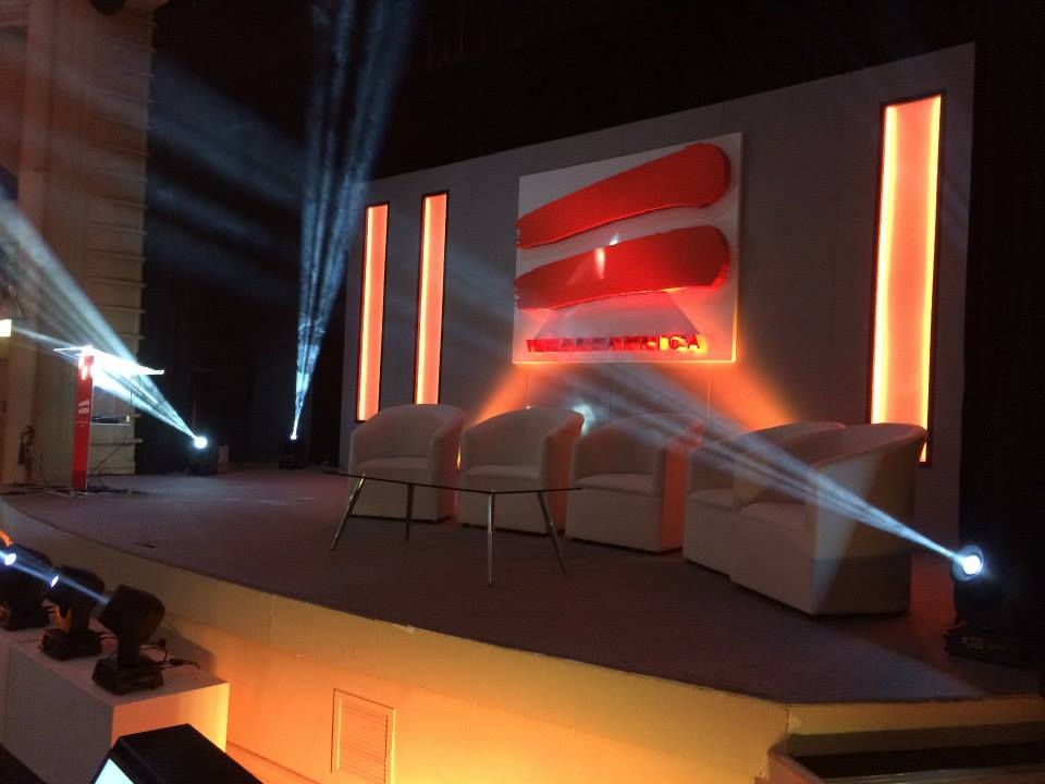 WeAreAfrica - set design and corporate logo uplighting
