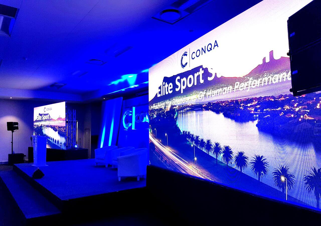conqa sports av technical and led screen setup