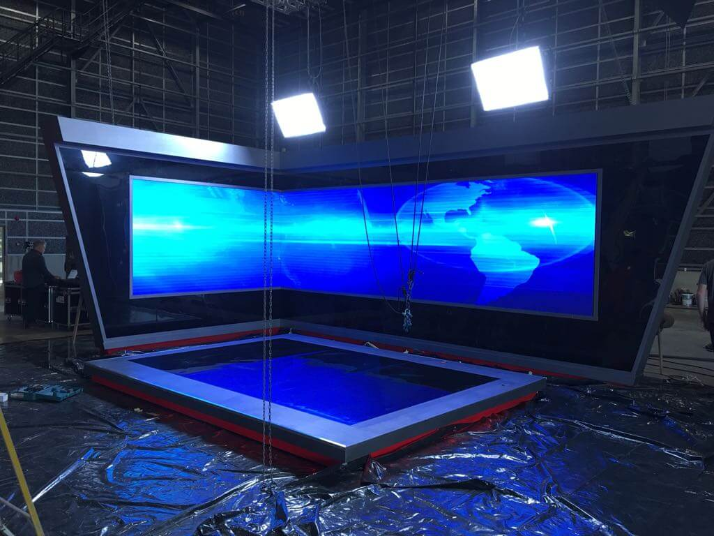 technical high res video wall led corner setup