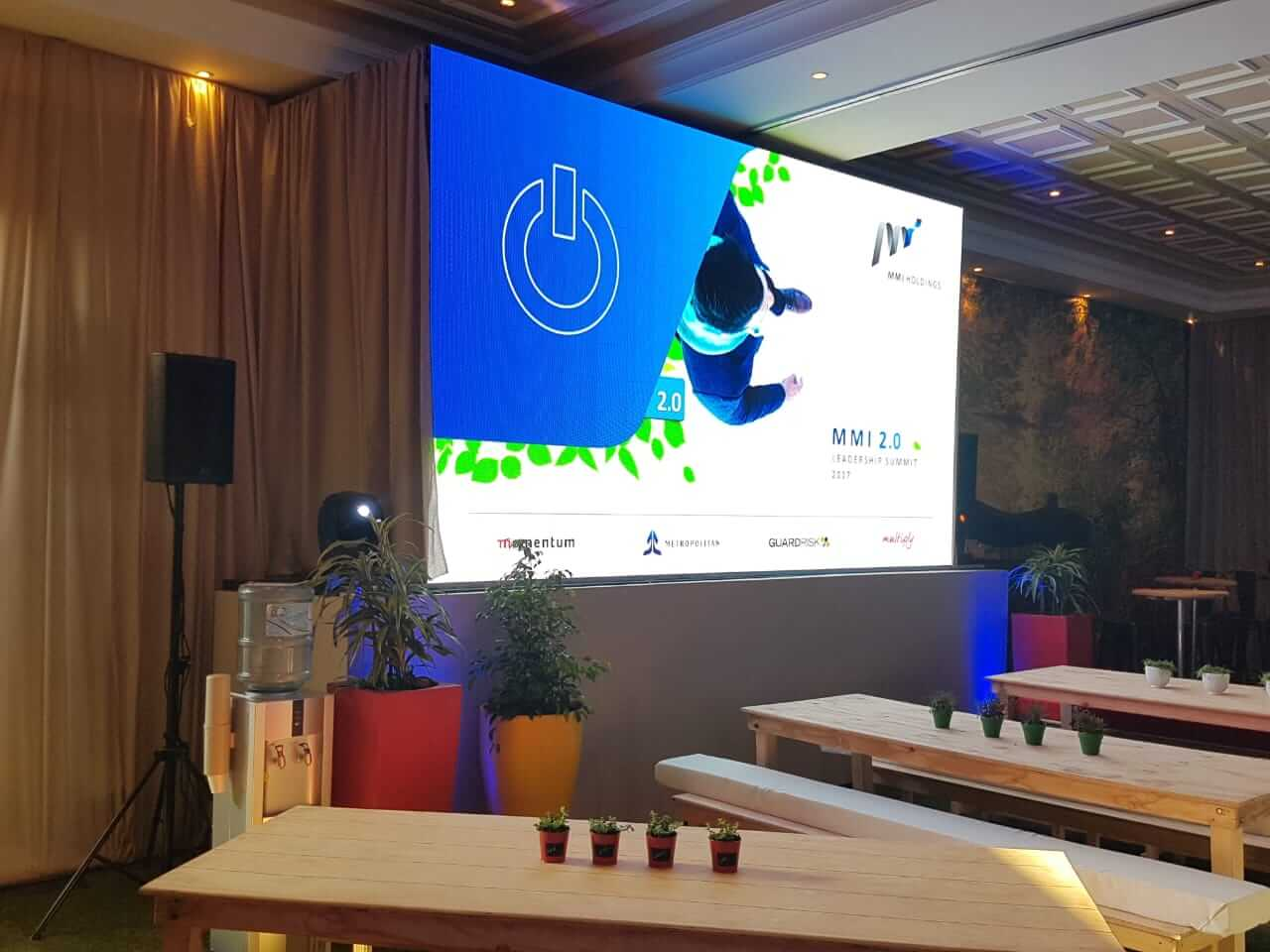 MMI technical conference setup with led video wall
