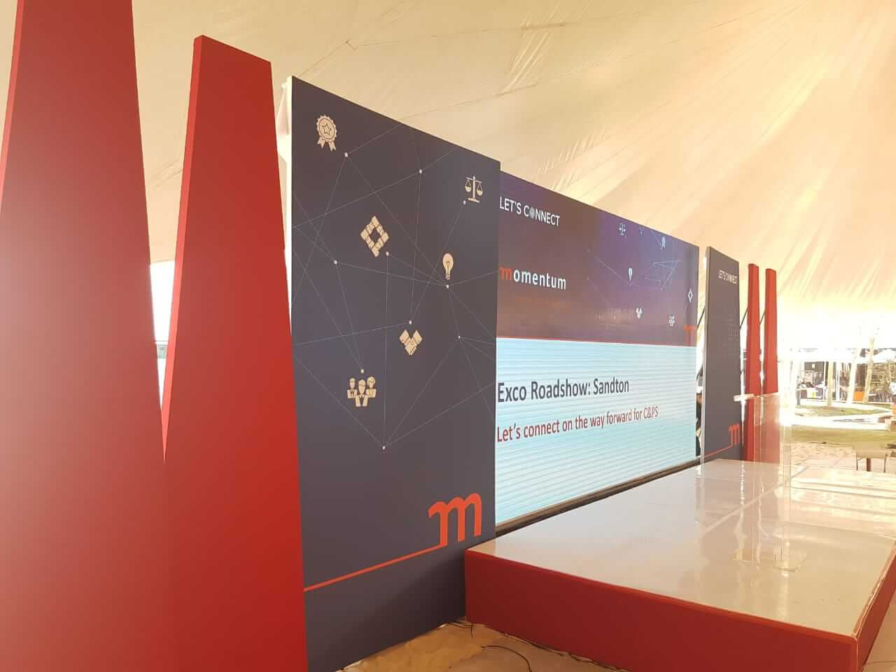 MMI road show technical conference setup with led video wall