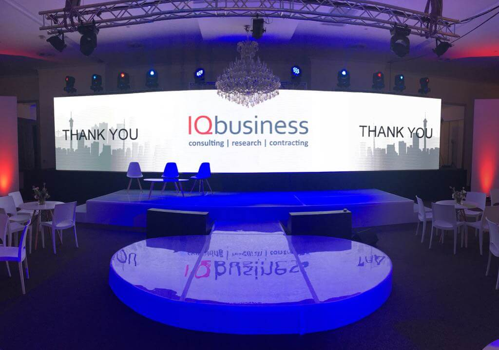 iq business led video wall wide screen and stage setup