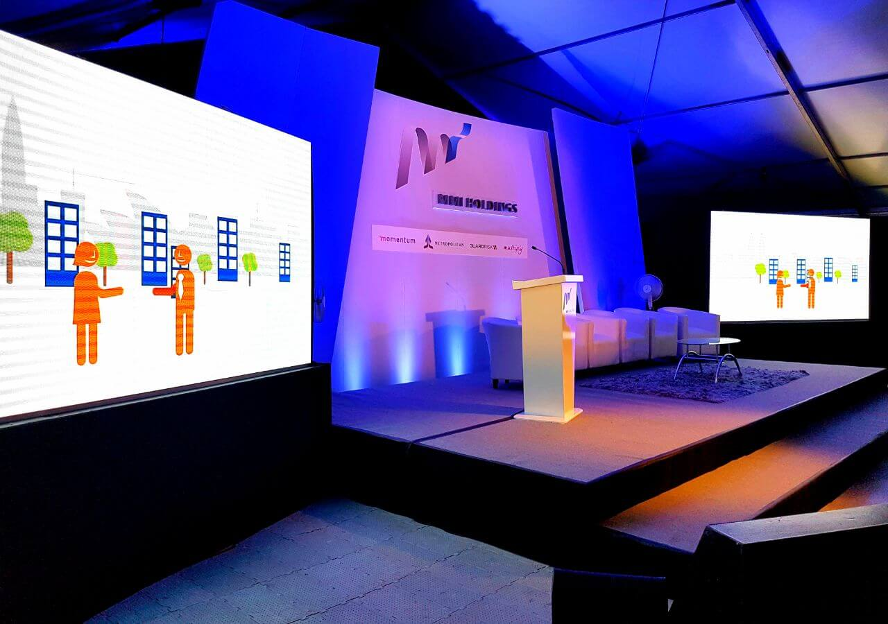 MMI roadshow with led screen, prints, stage and lighting